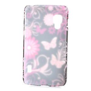 Plastové puzdro pre LG Optimus L5 Dual E455- motýlový květ - 2
