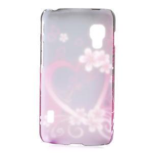 Plastové puzdro pre LG Optimus L5 Dual E455- květové srdce - 2