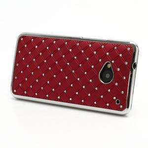 Drahokamové puzdro pre HTC one M7- červené - 2