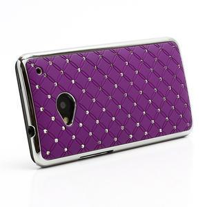 Drahokamové puzdro pre HTC one M7- fialové - 2