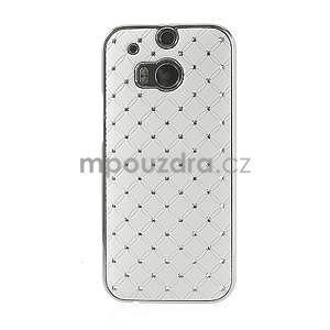 Drahokamové puzdro pre HTC one M8- biele - 2