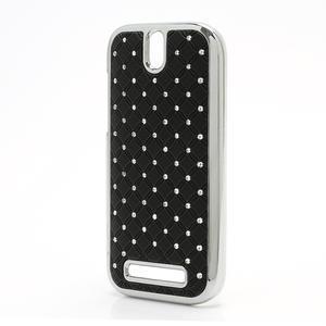 Drahokamové puzdro pre HTC One SV- čierné - 2