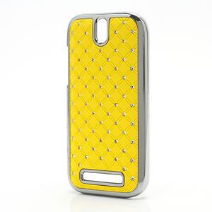 Drahokamové puzdro pre HTC One SV- žlté - 2