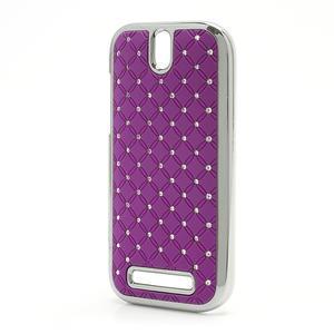 Drahokamové puzdro pre HTC One SV-fialové - 2