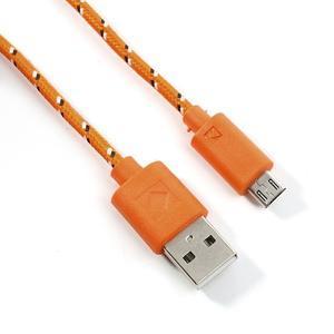 Tkaný odolný micro USB kabel s dlžkou 2m - oranžový - 2