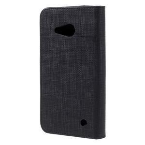 Cloth PU kožené puzdro na mobil Microsoft Lumia 550 - čierné - 2