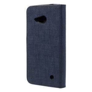 Cloth PU kožené puzdro pre mobil Microsoft Lumia 550 - tmavo modré - 2