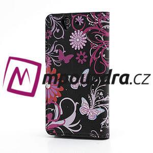 Peňaženkové puzdro pre Sony Xperia Z C6603 - motýľe - 2