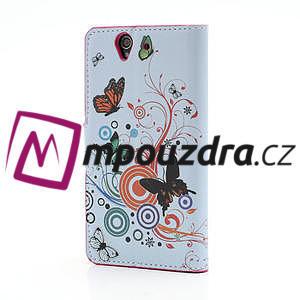 Peňaženkové puzdro pre Sony Xperia Z C6603 - farební motýľe - 2