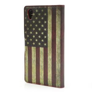 Peňaženkové puzdro pre Sony Xperia Z1 C6903 L39- USA vlajka - 2