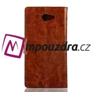 Peňaženkové kožené puzdro na Sony Xperia M2 D2302 - hnedé - 2