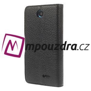 Peňaženkové kožené puzdro na HTC Desire 310- čierné - 2