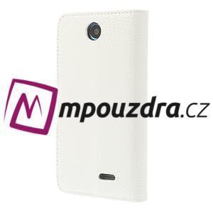 Peňaženkové kožené puzdro na HTC Desire 310- biele - 2