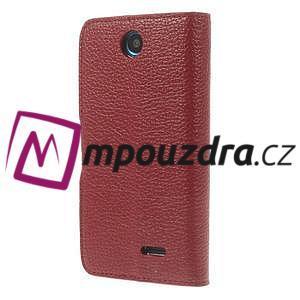 Peňaženkové kožené puzdro na HTC Desire 310- červené - 2