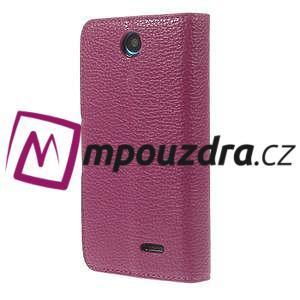 Peňaženkové kožené puzdro na HTC Desire 310- růžové - 2