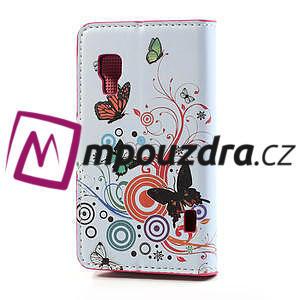 Peňaženkové puzdro pre LG Optimus L5 Dual E455-barevní motýli - 2