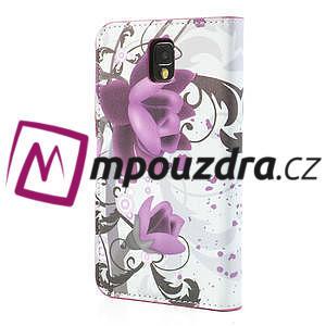 Peňaženkové puzdro pre Samsung Galaxy Note 3- fiaolový kvet - 2