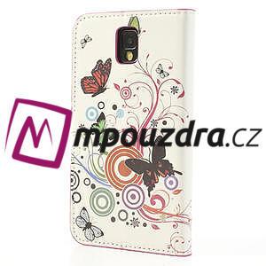 Peňaženkové  puzdro na Samsung Galaxy Note 3- farebné motýlci - 2