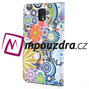 Peňaženkové puzdro pre Samsung Galaxy Note 3- farebné kvety - 2