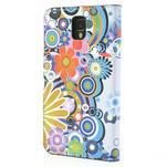 Peňaženkové puzdro pre Samsung Galaxy Note 3- farebné kvety - 2/7