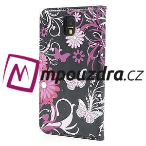 Peňaženkové puzdro na Samsung Galaxy Note 3- motýlci - 2