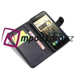 Peňaženkové kožené puzdro na Alcatel One Touch Idol OT-6030D- čierné - 2