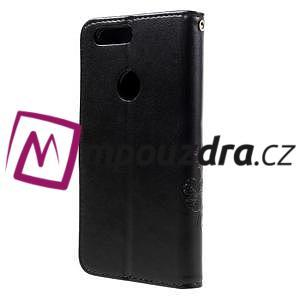 Floay PU kožené puzdro s kamienky na mobil Honor 8 - černé - 2