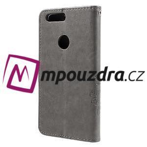 Floay PU kožené puzdro s kamienky na mobil Honor 8 - šedé - 2