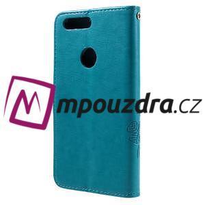 Floay PU kožené puzdro s kamienky na mobil Honor 8 - modré - 2