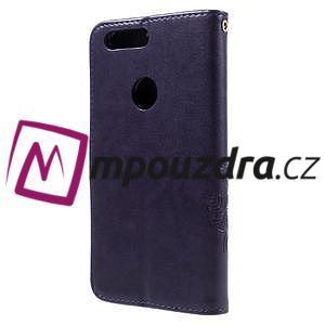 Floay PU kožené puzdro s kamienky pre mobil Honor 8 - fialové - 2