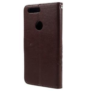 Floay PU kožené puzdro s kamienky na mobil Honor 8 - hnědé - 2