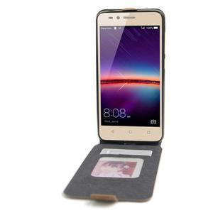 Flipové PU kožené puzdro na Huawei Y3 II - hnědé - 2