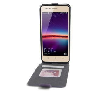 Flipové PU kožené puzdro na Huawei Y3 II - fialové - 2
