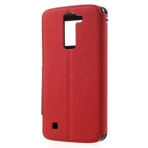 Diary PU kožené puzdro s okienkom na LG K8 - červené - 2