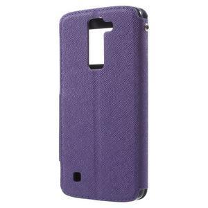 Diary PU kožené puzdro s okienkom na LG K8 - fialové - 2
