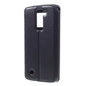 Richi PU kožené puzdro pre mobil LG K8 - tmavomodré - 2
