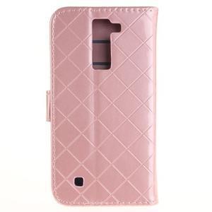 Luxusní PU kožené pouzdro s přezkou na LG K8 - růžové - 2