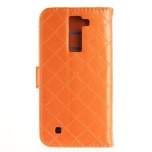 Luxusní PU kožené puzdro s přezkou na LG K8 - oranžové - 2