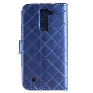 Luxusní PU kožené pouzdro s přezkou na LG K8 - modré - 2