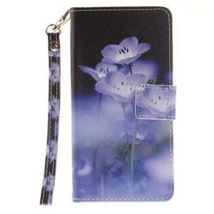 Style PU kožené pouzdro na LG K8 - fialové květiny - 2