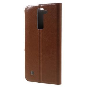 Horse PU kožené pouzdro na mobil LG K8 - hnědé - 2
