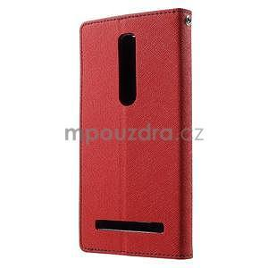 Zapínacie PU kožené puzdro na Asus Zenfone 2 ZE551ML - červené - 2
