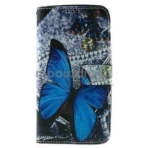 Zapínacie peňaženkové puzdro na Asus Zenfone 2 ZE551ML - modrý motýľ - 2