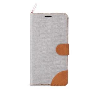 Šedé peňaženkové látkove / PU kožené puzdro pre Asus Zenfone 2 ZE551ML - 2