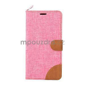 Ružové peňaženkové látkove / PU kožené puzdro pre Asus Zenfone 2 ZE551ML - 2