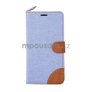 Svetlomodré peňaženkové látkove / PU kožené puzdro pre Asus Zenfone 2 ZE551ML - 2
