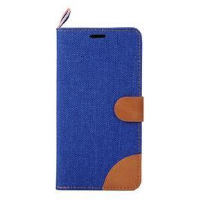 Modré peňaženkové látkove / PU kožené puzdro pre Asus Zenfone 2 ZE551ML - 2