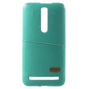 Azúrový PU kožený/plastový kryt na Asus Zenfone 2 ZE551ML - 2