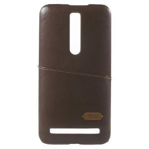 Hnedý PU kožený/plastový kryt pre Asus Zenfone 2 ZE551ML - 2