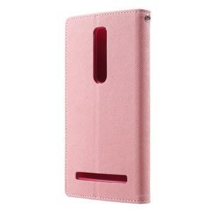 Zapínacie PU kožené puzdro na Asus Zenfone 2 ZE551ML - ružové - 2